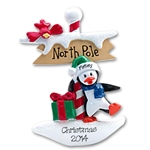 Petey Penguin<br>At the Northpole<br>Personalized Ornament - RESIN