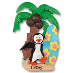 Petey Penguin<br>with Surfboard<br>Personalized Ornament<br>RESIN