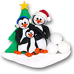 Petey &amp; Polly Penguin<br>Personalized Family<br>Ornament of 3