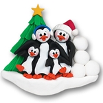 Petey &amp; Polly Penguin<br>Personalized Family<br>Ornament of 4