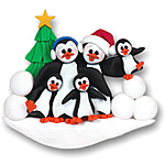 Petey &amp; Polly Penguin<br>Personalized Family<br>Ornament of 5