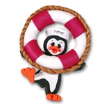 Petey Penguin/ Life Preserver<br>Personalized Ornament<br>Limited Edition