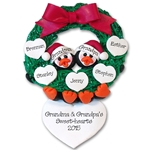 Penguin Couple<br>In Wreath<br>and 5 Hearts