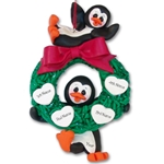 Penguin Couple w/Wreath and 4 Hearts Personalized Ornament Limited Edition