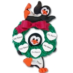 Penguin Couple w/Wreath and 5 Hearts Personalized Ornament Limited Edition