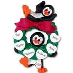 Penguin Couple w/Wreath and 6 Hearts Personalized Ornament Limited Edition