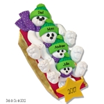 Polar Bear Family of 4 on Sled Personalized Family  Ornament - Limited Edition