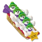 Polar Bear Family of 5 on Sled Personalized Family  Ornament - Limited Edition