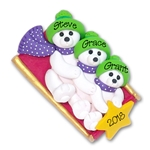 Polar Bear Family of 3 on Sled Personalized Family  Ornament 2 - Limited Edition