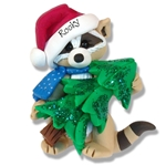 Rocky Raccoon w/Christmas Tree Personalized Christmas Ornament <br>Limited Edition