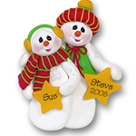 Snowman Couple with Stars Personalized Couples Ornament
