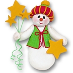 Snowman w/Stars Personalized Christmas Ornament