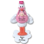 Stork w/Baby Girl<br>Personalized Baby Ornament