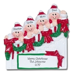 Family of 4 on Staircase Personalized Family Ornament