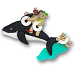 Whale w/3 Bears<br>Personalized Family Ornament