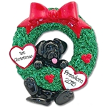 Black Lab<br>Hanging in Wreath<br>Personalized Dog Ornament