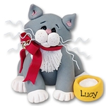 &quot;Lucy&quot; Grey &amp; White Kitty<br>Cat Ornament