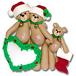 Belly Bear Family of 3<br>Personalized Family Ornament