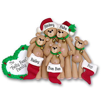 Belly Bear Family of 5<br>Personalized Family Ornament