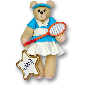 Girl Tennis Belly Bear<br>Personalized Ornament