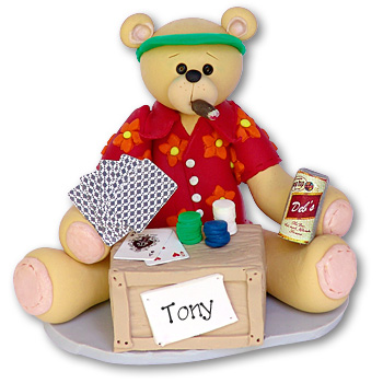 Belly Bear Card Player<br>Personalized Ornament