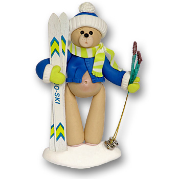 Skier Belly Bear<br>Personalized Ornament