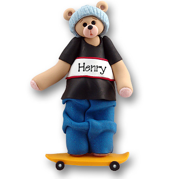 Belly Bear Skateboarder<br>Personalized Ornament