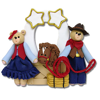 Belly Bear Cowboy<br>Family of 2<br>Personalized Ornament