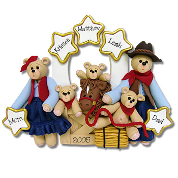 Belly Bear Cowboy<br>Family of 5<br>Personalized Ornament