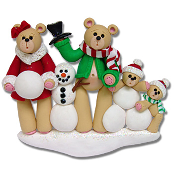 Belly Bear w/Snowman<br>Family of  4<br>Personalized Ornament