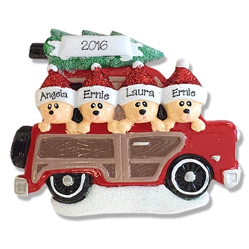 Belly Bear Family of 4 in Woody Wagon Personalized RESIN Ornament