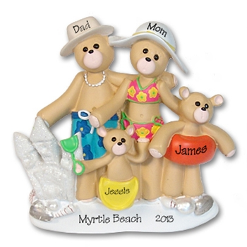 RESIN<br>Beach Belly Bears<br> Family of 4<br>Personalized Ornament