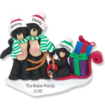 Black Bear Family of 3<br>Personalized Family Ornament - RESIN