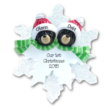 Black Bear Couple<br>on Snowflake<br>Personalized Ornament