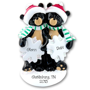 RESIN<br>Black Bear Couple<br>Personalized Family Ornament