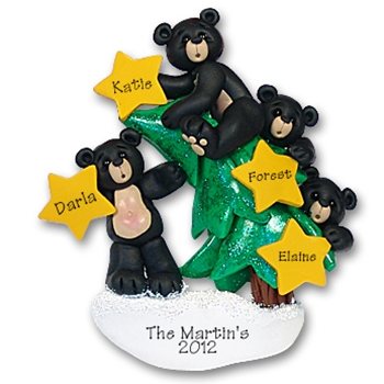 Black Bear Family of 4<br>w/Christmas Tree