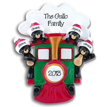 Black Bears in Train<br>Personalized Family Ornament of 4