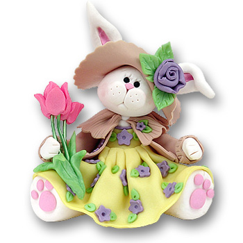 Belly Bunny Girl<br>w/Tulips Figurine<br>Easter Ornament