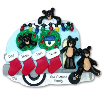 RESIN<br>Black Bear Family of 4<br>Personalized Family Ornament