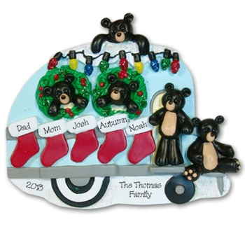 RESIN<br>Black Bear Family of 5 Camping / Camper Personalized Family Ornament
