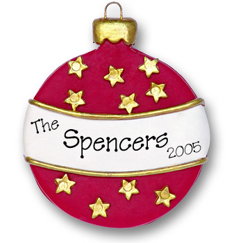 Christmas Ball (Red & White)<br>Personalized Ornament