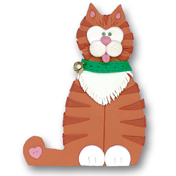 Orange Cat w/Scarf<br>Personalized Cat Ornament