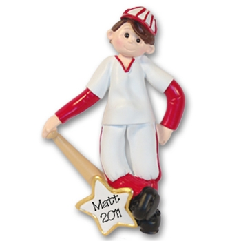 RESIN<br>Giggle Gang<br>Baseball Player <br>Personalized Ornament