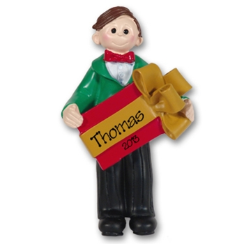 RESIN<br>Christmas Boy<br>Personalized Ornament