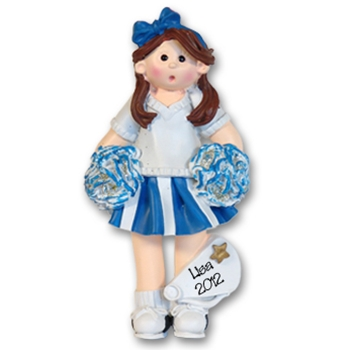 RESIN<br>Blue Cheerleader Girl<br>Personalized Ornament