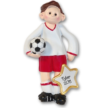 RESIN<br>Soccer Player Boy<br>Personalized Ornament