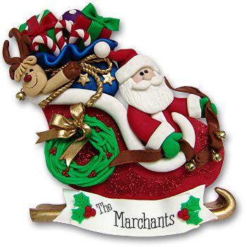 Santa in Sled w/Gifts & Rudolph<br>Personalized Ornament