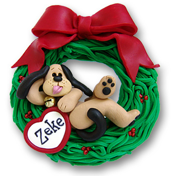 Dog in Wreath-Relaxing<br>Personalized Dog Ornament