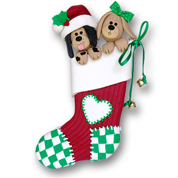 2 Dogs in Large Stocking<br>Personalized Pet Ornament