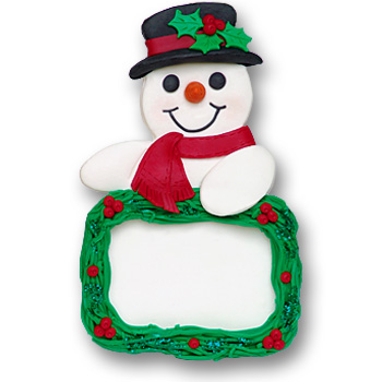 Snowman w/Plaque Personalized Snowman Ornament